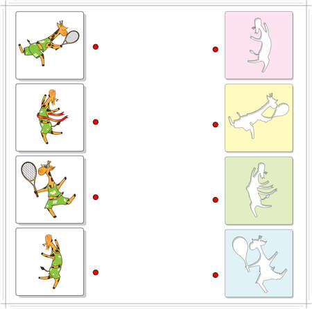 raptorial: Giraffes sportsmen playing tennis and running. Educational game for kids. Choose the correct silhouettes on the opposite side and connect the points Illustration