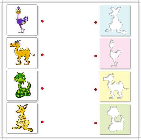 Strauß, Kamel, Schlange und Känguru. Lernspiel für Kinder. Wählen Sie die richtigen Silhouetten auf der gegenüberliegenden Seite und verbinden Sie die Punkte Standard-Bild - 42514659