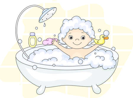 Ð¡ute toddler bathing in the bath with foam and yellow duck. Cleansers and baby shampoo stand in the bath. Vector illustration