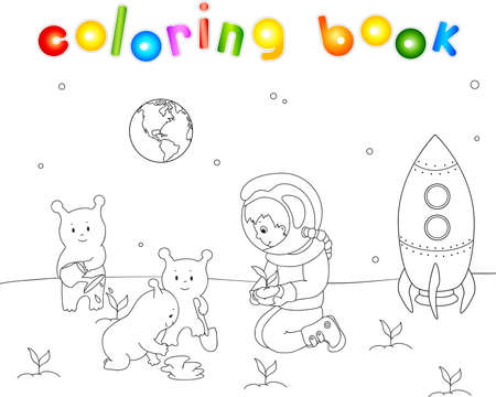 Astronaut helping the Martians to plant seedlings of terrestrial plants. Lovely and friendly aliens thrown trees on the planet near the rocket. Coloring book for children. Vector illustration
