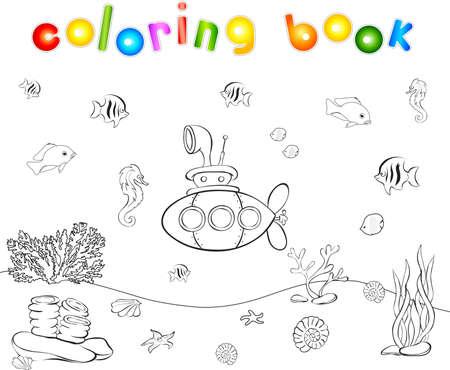 Onderzeeër en vissen onder water. Seahorse, kwallen, koraal en zeester op de oceaanbodem. Kleurboek. Educatief spel voor kinderen. vector illustratie Stock Illustratie