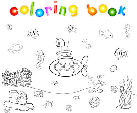Submarine and fish under water. Seahorse, jellyfish, coral and starfish on the ocean floor. Coloring book. Educational game for children. Vector illustration