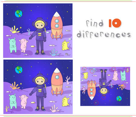 martians: Cute and friendly martians greeting astronaut on their planet. Cosmonaut landed on the moons surface. Educational game for kids: find ten differences. Vector illustration