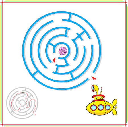 Yellow submarine must pass through a maze and find rare shell on the ocean floor. Educational game for children. Vector illustration Çizim