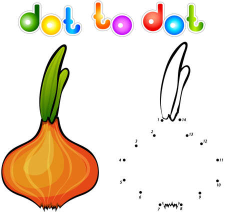 onions: Juicy ripe onions. Educational game for kids: connect numbers dot to dot and get ready image. Vector illustration for children