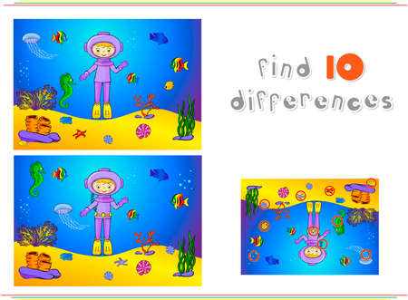 ocean floor: Cute cartoon scuba diver and fish under water. Seahorse, jellyfish, coral and starfish on the ocean floor. Vector illustration. Educational game for kids: find ten differences