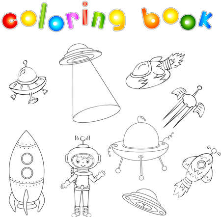 flying saucer: Set of spacecraft, spaceship and aerospace vehicle. Flying saucer, satellite and astronaut. Coloring book for children. Vector illustration Illustration