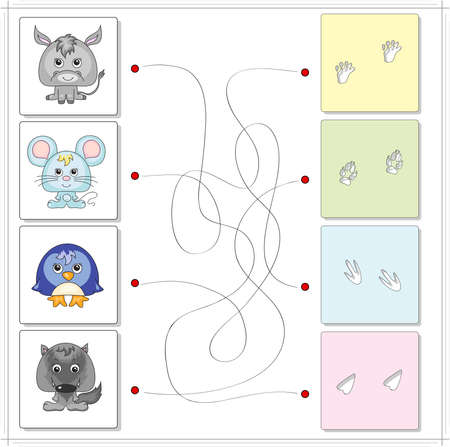 wild donkey: Donkey, mouse, penguin and wolf with their traces. Game for children: go through the maze and find the right answer