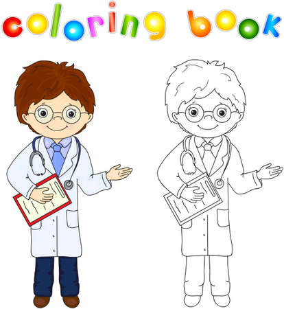 white coat: Doctor in a white coat, with glasses and stethoscope, holding a medical history. Vector illustration for children. Educational coloring for kids Illustration