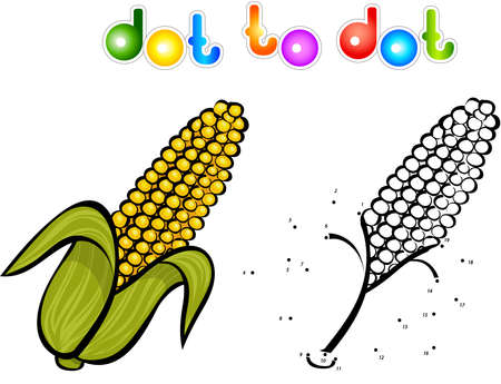 sweet corn: Juicy and sweet corn. Educational game for kids: connect numbers dot to dot and get ready image. Vector illustration for children