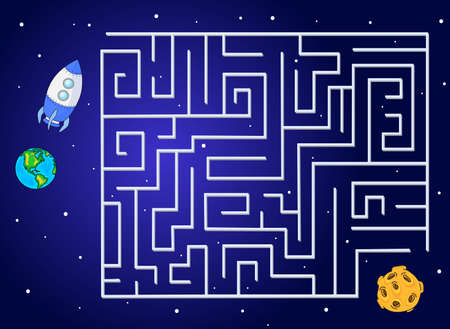Help the rocket fly to the moon from our planet. Run your spacecraft through the labyrinth. Educational game for children. Vector illustration