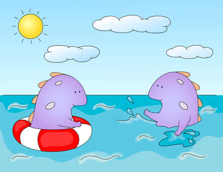 ne: Lovely imaginary dragons splashing in the water. Оne monster swims in sea in lifebuoys, another creature swim on its own and sprinkles water spray. Vector illustration