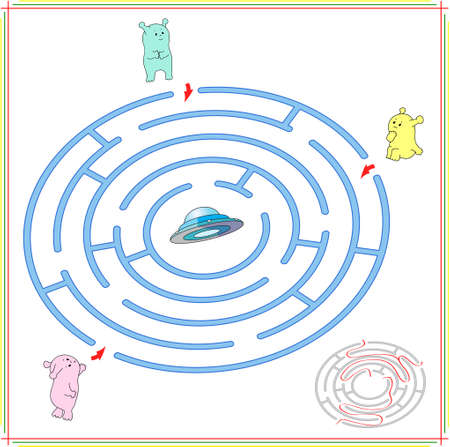 lost child: Help aliens to find their way to the flying saucer. Extraterrestrials must pass through a maze and find spaceship. Educational game for children. Vector illustration