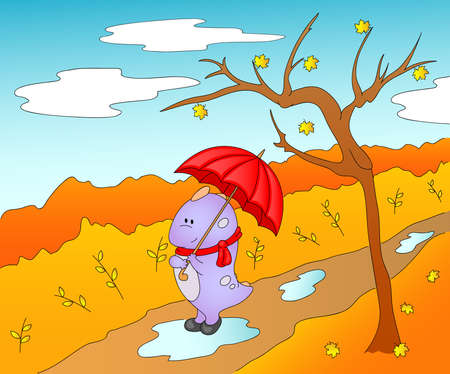 shrubs: Cute friendly alien in rubber boots, scarf and with umbrella in the paws. Autumn Landscape, leaves fall from the trees, shrubs, pools, walking paths in the park. Vector illustration Illustration