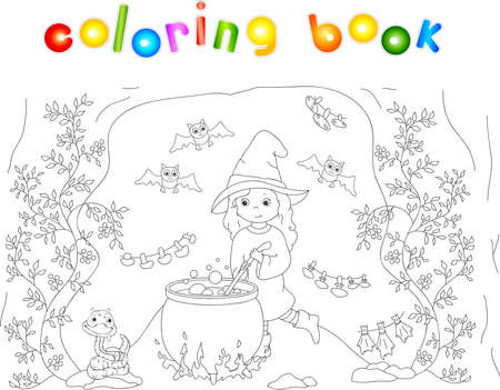 Pretty friendly witch brews a potion. Magic potion boils in a cauldron. Dried mushrooms are hanging in a cave. Snake and bats sitting nearby. Coloring book to Halloween. Vector illustration for kids