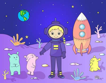 Marcianos lindo y amable saludo astronauta en su planeta. Cosmonauta aterrizó en la superficie de la luna Ilustración de vector