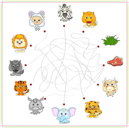 game meat: Fox, wolf, sheep, lamb, lion, zebra, donkey, tiger, elephant, cow and jaguar with their food. Carnivores and herbivores. Educational game for children: go through the maze and find the right answer. Vector illustration Illustration