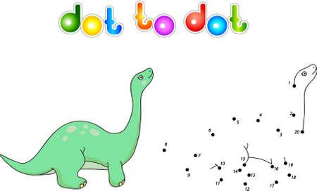 diplodocus: Funny cute diplodocus. Educational game for kids. Connect digits dot to dot and ge image. Vector illustration