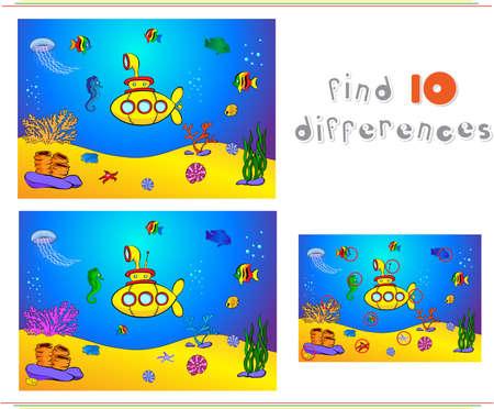 물 아래 잠수함과 물고기. 바다의 바닥에 해마, 해파리, 산호와 불가사리. 아이들을위한 교육 게임 : 열 차이점을 찾을 수 있습니다. 벡터 일러스트 레