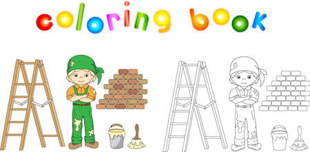 coverall: Painter in overalls and bandana. Ladder, paint brush and bucket of paint. Vector illustration. Educational coloring for kids
