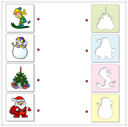 fascinated: Boy skiing, snowman, Christmas fir and Santa Claus. Educational game for kids. Choose the correct silhouettes on the opposite side and connect the points