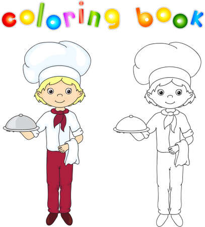 cook book: Cook or waiter in his uniform with closed dish. Coloring book. Game for children. Vector illustration