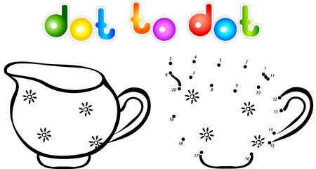 milk jug: Milk jug dot to dot coloring book. Illustration for children