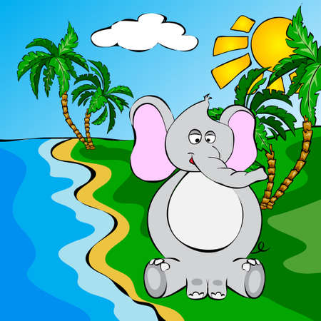 jungle leaves: Funny cartoon elephant near a river. Illustration for children Stock Photo