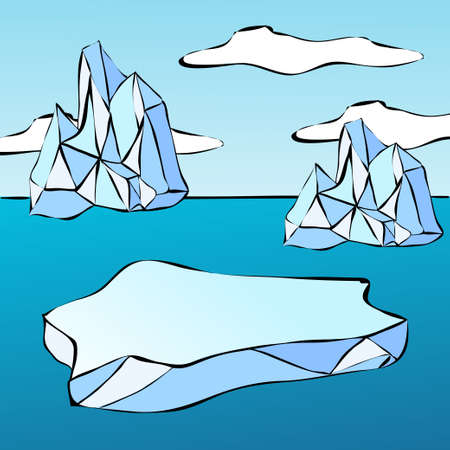 floe: Ice floe and iceberg. Illustration