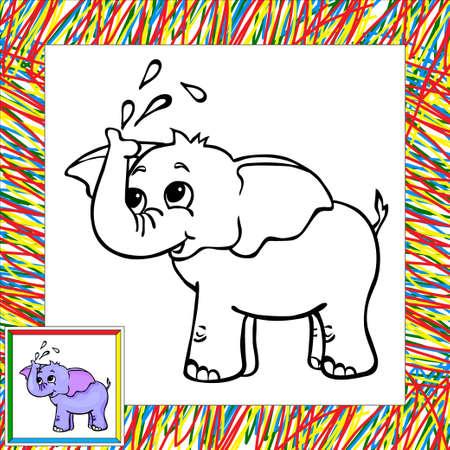 selva caricatura: divertidos dibujos animados de libro para colorear elefante. Ilustración para el niño