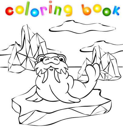 floe: Walrus on the iceberg coloring book. Illustration for children