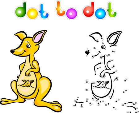 kangaroo white: Funny cartoon kangaroo dot to dot. Illustration for child Stock Photo