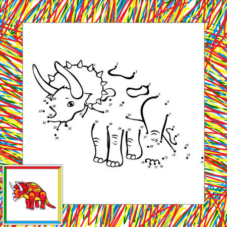 dinosaurus: Funny cartoon triceratops. Coloring book for children dot to dot Stock Photo