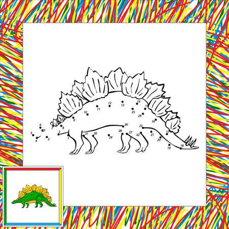 stegosaurus: Estegosaurio divertido de la historieta. Libro para colorear para los niños punto a punto