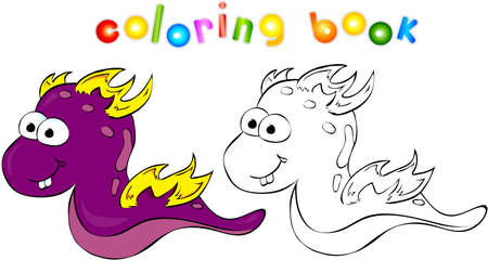 bogie: Coloring book. Funny dragon-monster Stock Photo
