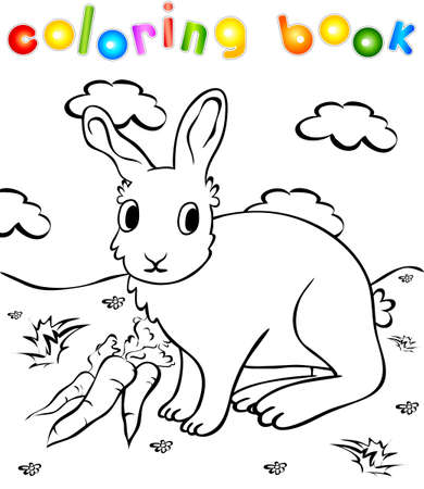 Funny rabbit with carrots coloring book. Illustration for children