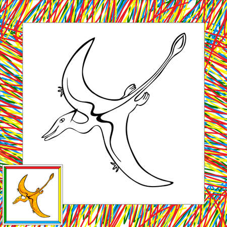 pterodactyl: Funny cartoon pterodactyl. Part  of coloring book for children Stock Photo