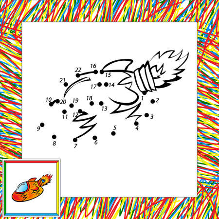 second: Cartoon rocket (second). Dot to dot