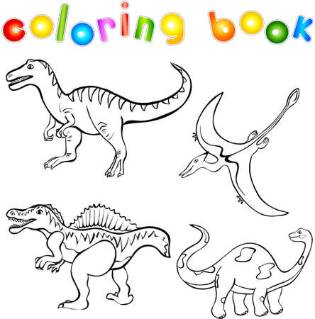 devonian: Funny cartoon dinosaurs. First set. Coloring book