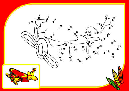 supersonic plane: Coloring book dot to dot. Illustration of funny airplane (2) Stock Photo