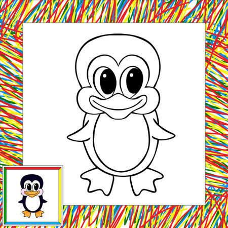 pinguin: Cartoon penguin coloring book with border. Illustration for child