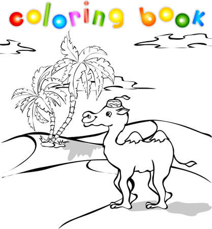 cartoon camel: Funny cartoon camel in desert coloring book. Illustration for children Stock Photo