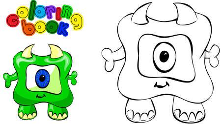 children caterpillar: Coloring book. Illustration of funny green monster