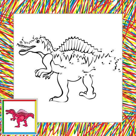 spinosaurus: Funny cartoon spinosaurus. Coloring book for children dot to dot Stock Photo