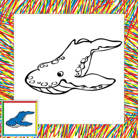 cachalot: Cartoon whale killer coloring book with border. Illustration for child Stock Photo