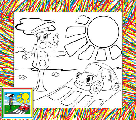 funny car: Coloring book with border. Funny car and traffic lights Stock Photo