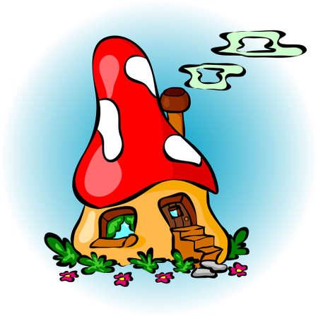 mushroom house: Funny cartoon mushroom house. Illustration