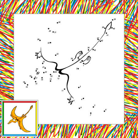 terrific: Funny cartoon pterodactyl. Part  of coloring book for children dot to dot