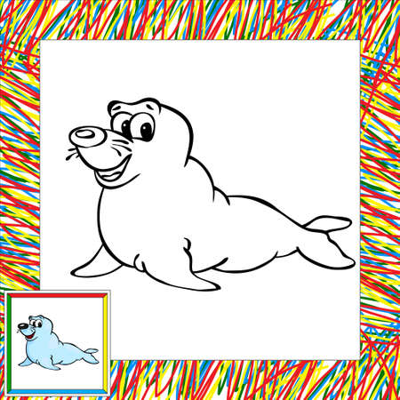fur seal: Cartoon fur seal coloring book with border.Illustration for child Stock Photo