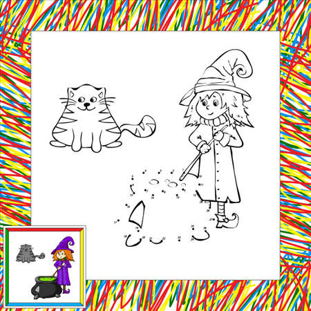 fanny: Fanny cartoon witch cooking a potion in a cauldron dot to dot
